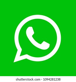 Phone handset icon in speech bubble on green background. Whatsapp messenger logo icon, symbol . Vector illustration. EPS 10