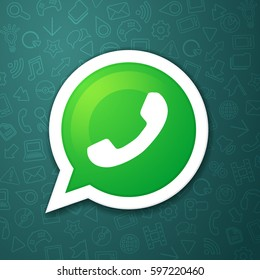 phone handset in speech bubble vector messenger icon