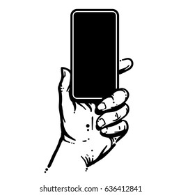 Phone held in hand, black and white illustration