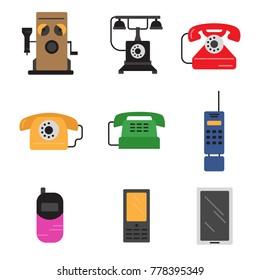 Phone history. Evolution. Flat colour design vector icon set. Illustration