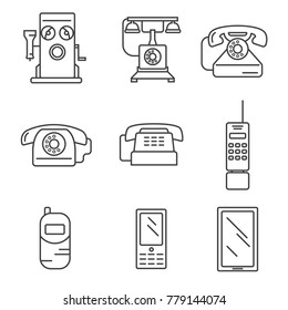 Phone history. Evolution. Simple line design vector icon set. Illustration