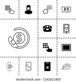 Phone icon. collection of 13 phone filled and outline icons such as customer support, tablet, door ringer, hand on atm, heart mobile. editable phone icons for web and mobile.