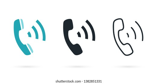 Phone icon in flat style. Telephone sign. Thin lines phone icons. Handset with waves. Call Icon.
