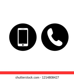 Phone icon in modern flat design isolated on white background, call vector illustration for web site or mobile app