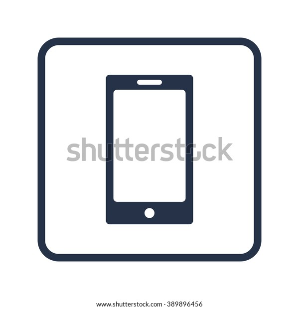 Phone Icon On White Background Rounded Stock Vector (Royalty