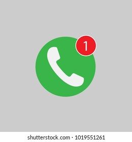 Phone icon, one missed call sign, white on green background. Vector flat illustration.