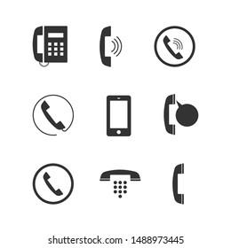 Phone icon set, flat style.