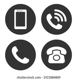 Phone icon symbol set. Smartphone, Old phone logo sign shape collection. Vector illustration image. Isolated on white background.