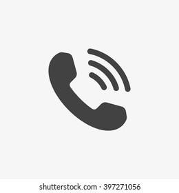 時尚平面風格的手機圖標,獨立於灰色背景。 帶有波浪的手機圖標。 您的設計,標誌,UI 的電話符號。 向量插圖,EPS10。