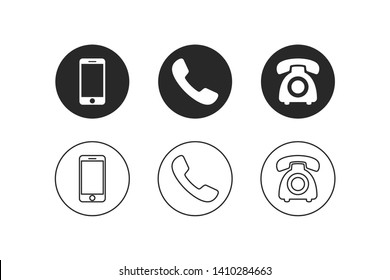 Phone icon vector. Set of flat Phone and mobile phone symbol collection