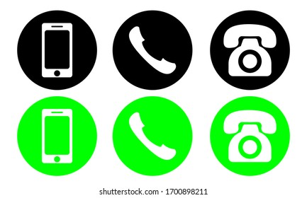 phone icon vector. set of flat Phone and mobile phone symbol collection using eps 10 format