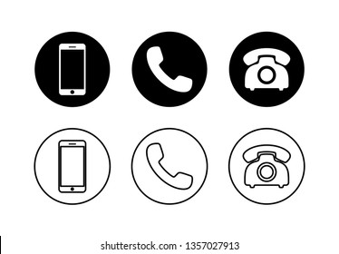 Phone icon vector. Set of Phone and handphone glyph icon illustration