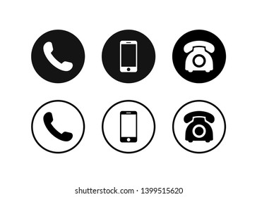 Phone icon vector. Set Telephone and handphone symbol illustration