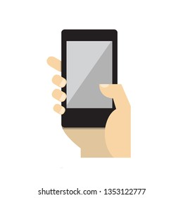 Phone icon Vector.Hand hold the smartphone.Mobile phone in hand icon.smartphone icon,vector illustration.Mobile phone icon.Mobile icon