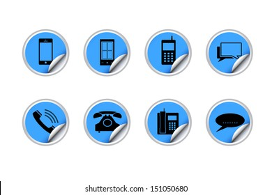 Phone icons with label paper stick on white background - Vector illustration