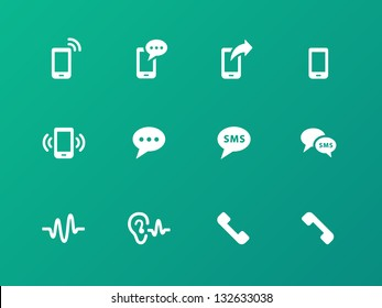 Phone icons on green background. Vector illustration.