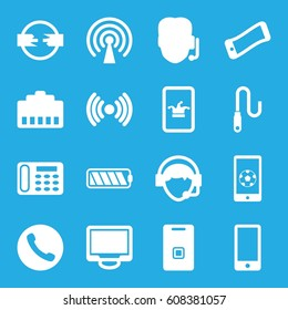 Phone icons set. set of 16 phone filled icons such as display, operator, door ringer, wire, battery, signal, call, support