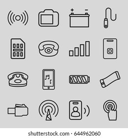 Phone icons set. set of 16 phone outline icons such as touchscreen, door ringer, wire, camera display, sim card, battery, signal