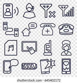 Phone icons set. set of 16 phone outline icons such as finger on tablet, nurse, memory card with music, battery, home message, call, no signal, mobile signal
