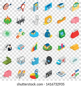Phone icons set. Isometric style of 36 phone vector icons for web for any design