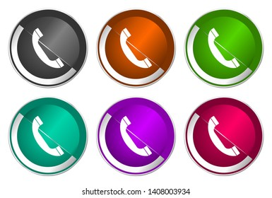 Phone icons, vector illustration, call buttons