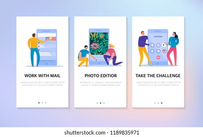 Phone interaction vertical banners set with text field and people using mail and photo editor icons flat isolated vector illustration