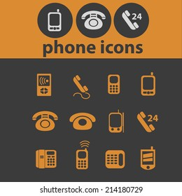 phone isolated icons, signs, vectors, illustrations, silhouettes set, vector