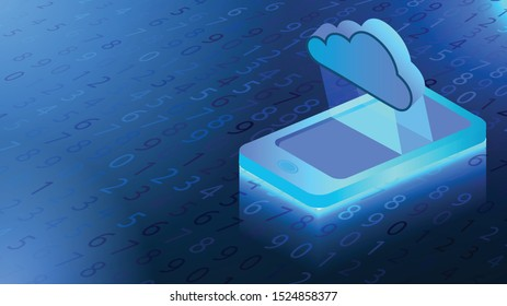 Phone, Isometric Smartphone. cloud storage concept. With Abstract Technology Binary code Background.Digital binary data and Secure Data Concept. Blue Background. Vector Illustration