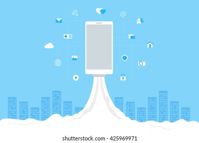 Phone launch like a space rocket with mobile icons. Abstract blue cityscape on background. Wi-fi, 3G, 4G advertising desing.