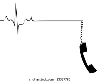 phone line rhythm going dead with dangling phone handset - vector