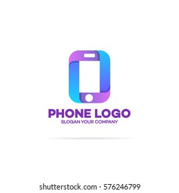 Phone logo template on white background can used for mobile shop, phone service and repair. Perfect for your business design. Vector Illustration