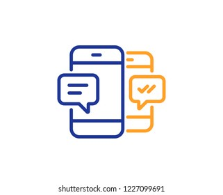 Phone Message line icon. Mobile chat sign. Conversation or SMS symbol. Colorful outline concept. Blue and orange thin line color icon. Smartphone SMS Vector