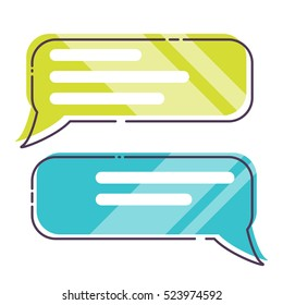 Phone messages, sms, dialog box, colorful flat style vector illustration