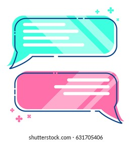 Phone messages, sms, dialog box, crimson and turquoise, colorful flat style vector illustration eps 10