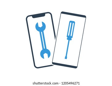 phone mobile repair logo. smartphone and tools. Service electronic technic.