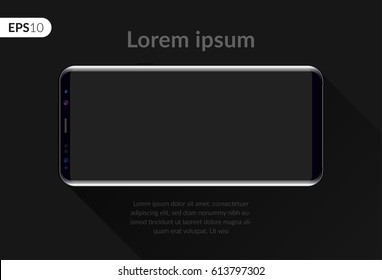 Phone, mobile smartphone design composition isolated on black background template. Realistic vector illustration mockup phone for banner or advertising.