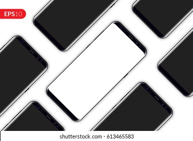 Phone, mobile smartphone design diagonal composition isolated on white background template. Realistic vector illustration mockup phones for banner or advertising.