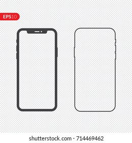 Phone, mobile, smartphone icon isolated on transparency background with empty screen. Front and back flat view realistic vector illustration phone with black color.