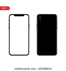 Phone, mobile, smartphone mockup isolated on white background with blank screen. Back and front view realistic vector illustration phone with black color.