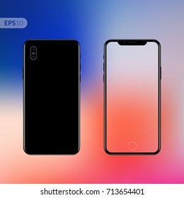 Phone, mobile, smartphone mockup isolated on trend gradient background with transparent screen. Back and front view realistic vector illustration phone with black color.