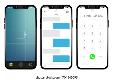 Phone, mobile, smartphone, mockup. Realistic vector illustration phone.  The photo screen, the dialing screen, the message screen.