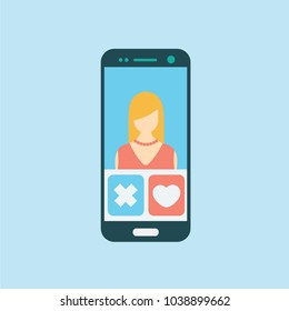 phone mobile vector flat design. virtual people & relationship or dating. date cartoon isolated. blonde woman female on a screen & touch. love heart internet & in social media. choose your one tinder