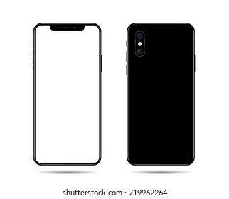 phone mockup with blank screen. Back and front view realistic on white background