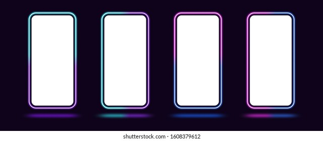 Phone mockup with gradient neon border. Modern set of phone templates with creative duotone neon frame. Mobile screen mock up, copy space for UI interface design. Vector illustration