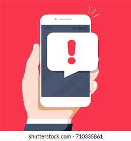 Phone notifications, new message received concepts. Hand holding smartphone with speech bubble and exclamation point icon. Modern flat design graphic elements. Long shadow design. Vector illustration