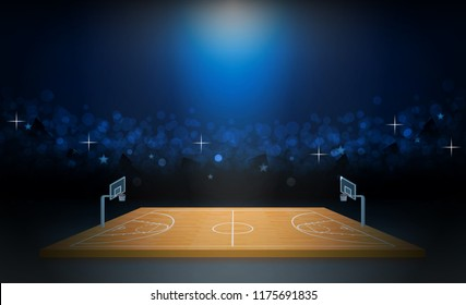 Phone on Basketball arena field with bright stadium lights design. Vector illumination