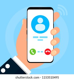 """Phone on a blue background. The call is displayed on the phone screen. Choice for pick-up: """"raise the handset"""" or not."""