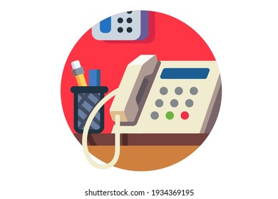 Phone with on office desk with pens, flat vector illustration isolated on white background.