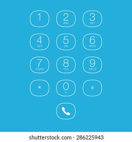 Phone Outline Keypad for Touchscreens. Vector User Interface