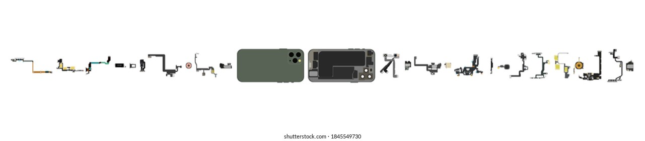Phone parts. Disassembled phone components